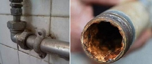 Corroded service pipes