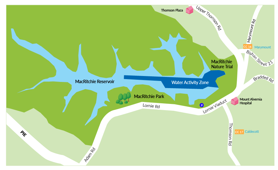 MacRitchie Reservoir Water Activities Map