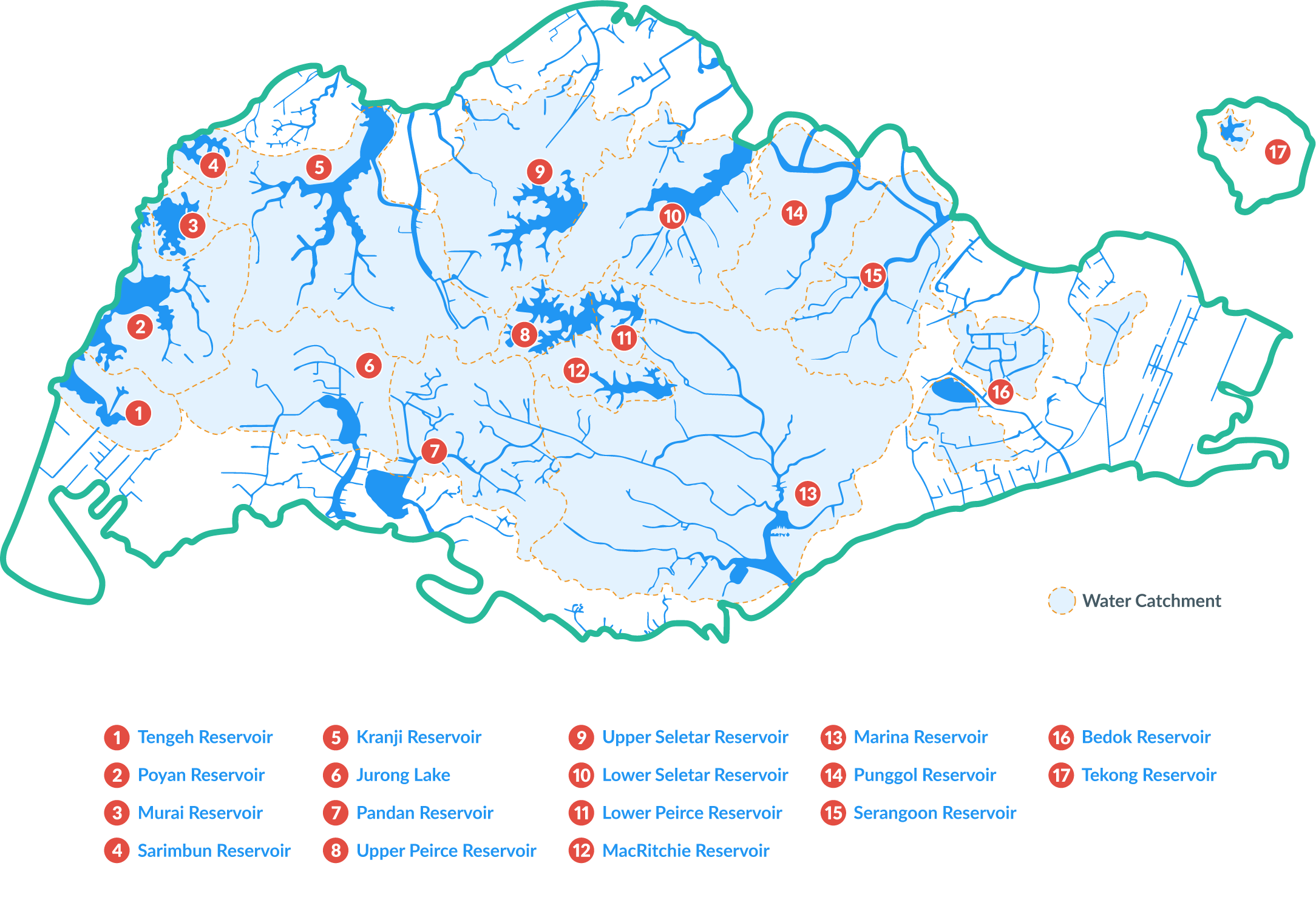 Reservoirs Blue Map of SG